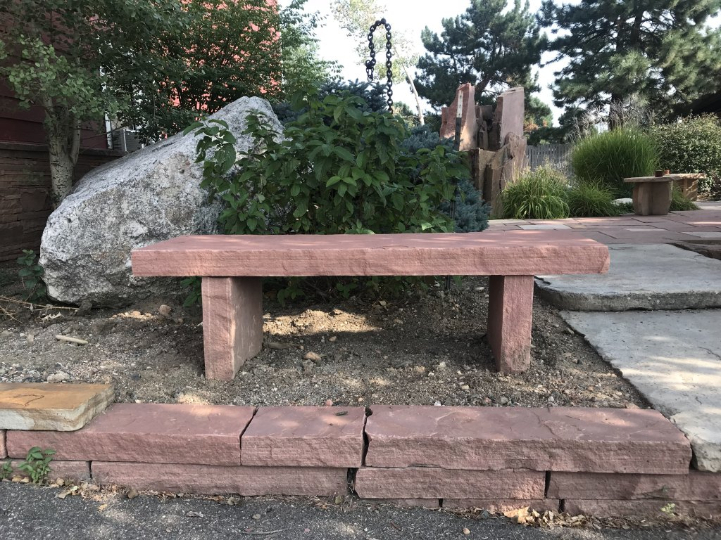COLORADO RED BENCH WITH PARTIALLY BURIED LEGS